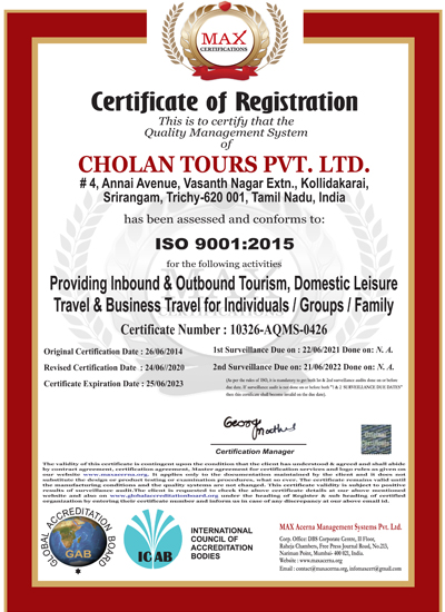 Cholan Tours-ISO certificate